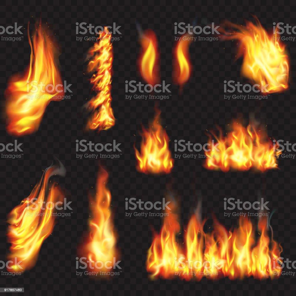 Realistisk eld flammar effekt - Royaltyfri Abstrakt vektorgrafik