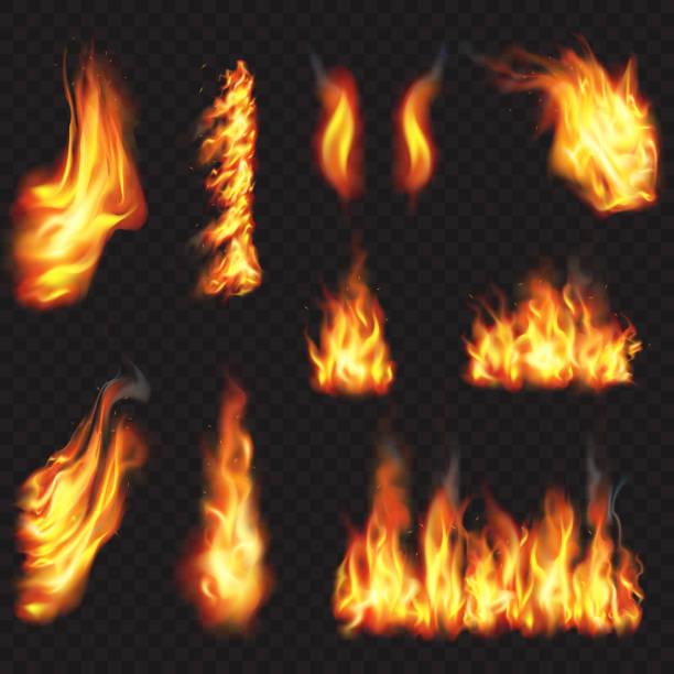 bildbanksillustrationer, clip art samt tecknat material och ikoner med realistisk eld flammar effekt - flames