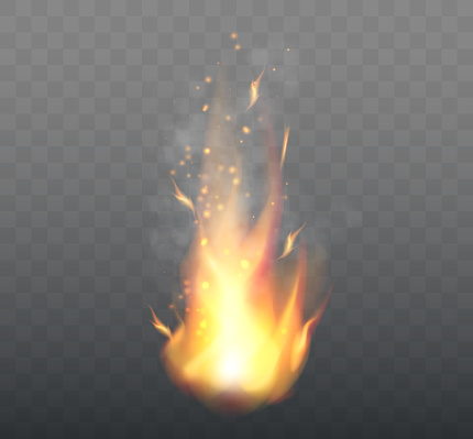 Realistic Fire Flames isolated