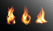 Set of Realistic Fire Flames on a Transparent Background. Realistic Fire Flames Vector. Collection of Realistic Fire Flames - Elements for Your Design.