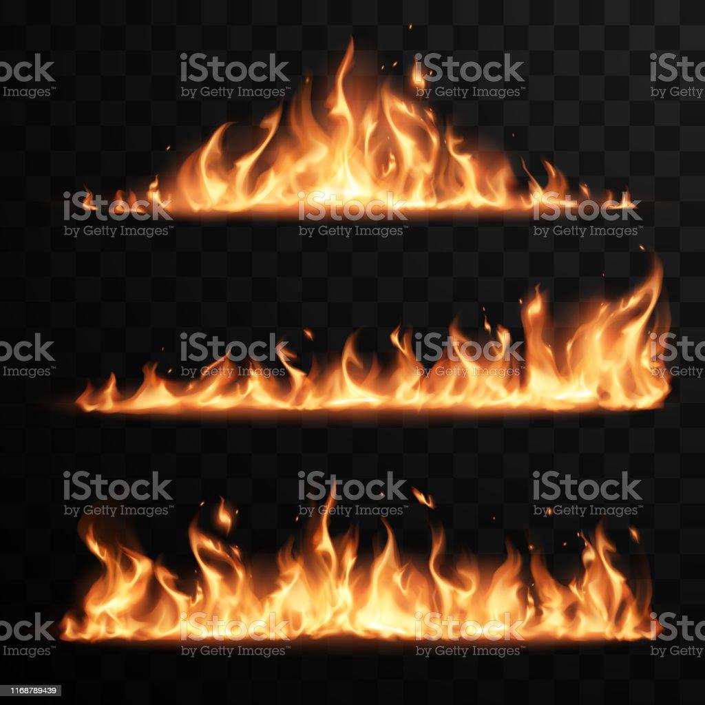 Realistiska eldflammor inställd på transparent svart bakgrund - Royaltyfri Abstrakt vektorgrafik