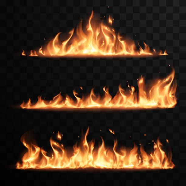 illustrazioni stock, clip art, cartoni animati e icone di tendenza di realistiche fiamme incendi su sfondo nero trasparente - calore concetto