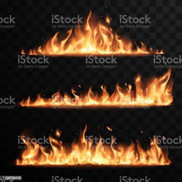 Realistiska Eldflammor Inställd På Transparent Svart Bakgrund-vektorgrafik och fler bilder på Abstrakt