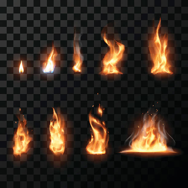 realistische feuer flammen-set - feuer stock-grafiken, -clipart, -cartoons und -symbole