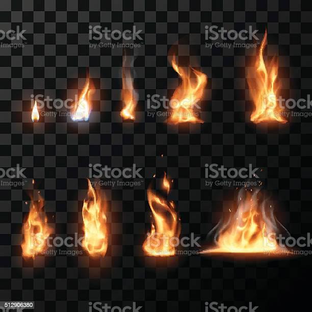 Réaliste Fire Flames Feu Vecteurs libres de droits et plus d'images vectorielles de Abstrait