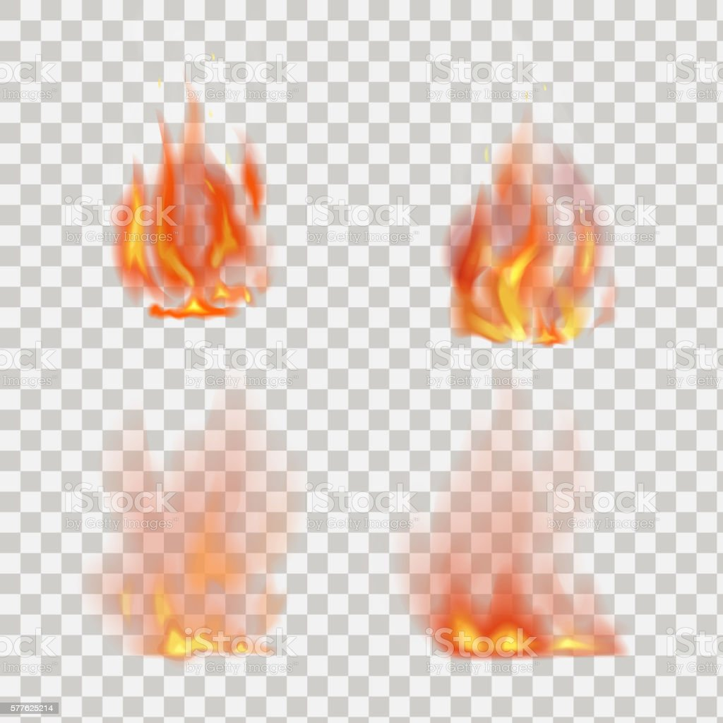 Realistic fire flames vector on transparent background vector art illustration