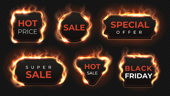 Realistic fire labels. Hot deal and sale offer text banners with shiny flame effect, isolated design objects. Vector burning labels set