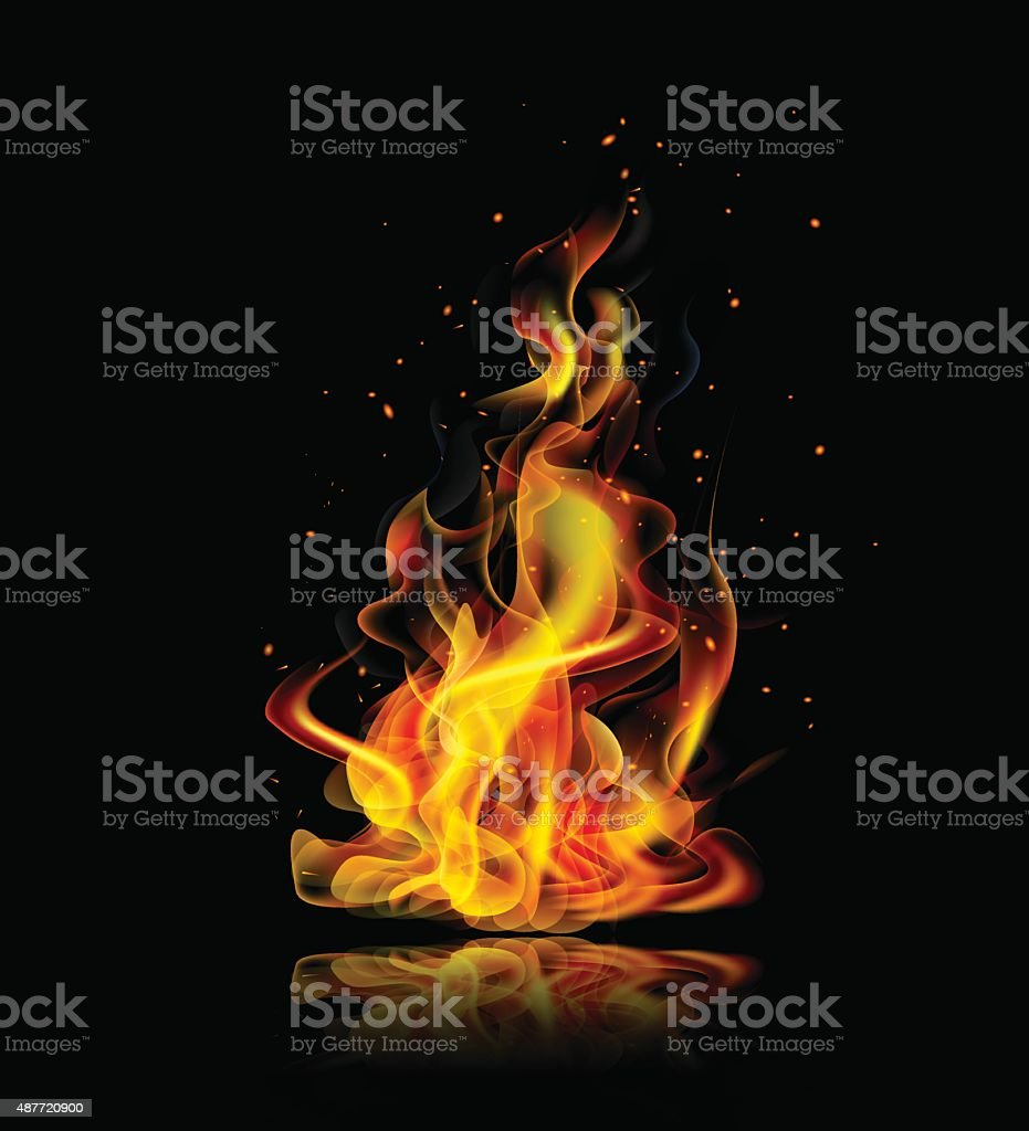 Realistic fire on a black background with reflection vector art illustration