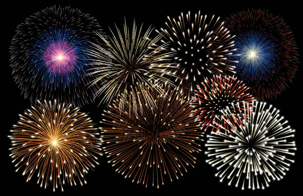 Realistic fireworks background vector Realistic fireworks background vector pyrotechnic effects stock illustrations