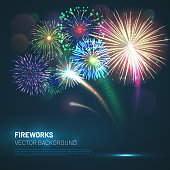 Realistic fireworks explosions with shining sparks on dark background. Festive template with new year colorful fireworks and free space for text. Pyrotechnics light show vector illustration.