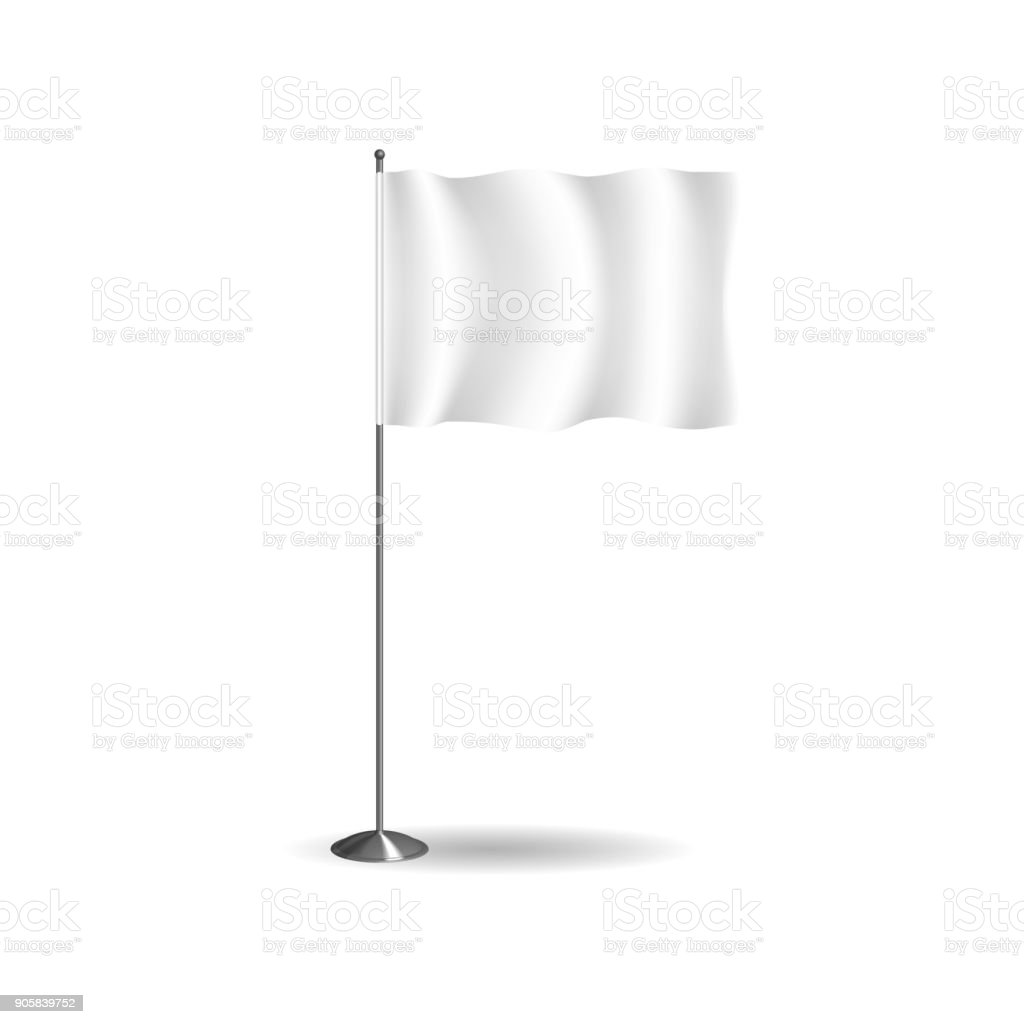 Realistic flag, textile banner and advertising layout, white advertising stand vector art illustration