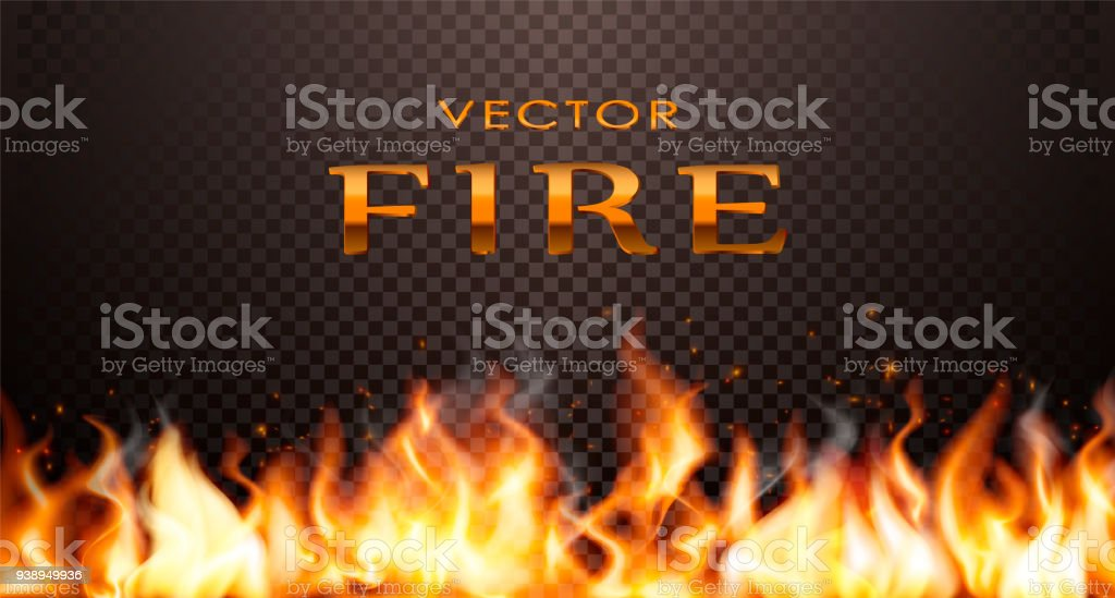 Realistic flame, vector 3d Fire collection.