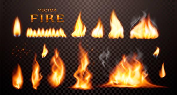 Fuego realista, vector 3d de fuego de colección. - ilustración de arte vectorial