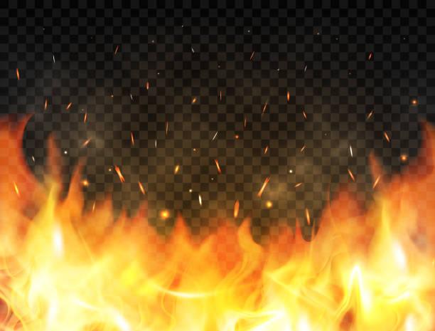illustrations, cliparts, dessins animés et icônes de réaliste de flammes sur fond transparent. fond avec des flammes, étincelles de feu rouge vers le haut, particules incandescentes et fumée d'incendie. flammes de feu. concept de feu de joie, feu de camp ou un foyer. illustration vectorielle - feu
