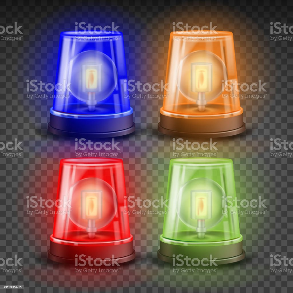 Realistic Flasher Siren Set Vector. Red, Orange, Green, Blue. 3D Realistic Object. Light Effect. Rotation Beacon. Emergency Flashing Siren. Isolated On Transparent Background Illustration vector art illustration