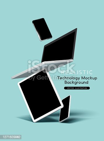 Realistic vector illustration of mobile business technology devices including a tablet, laptop and smartphones. Stacked and floating composition.