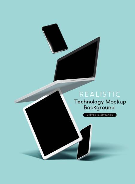 bildbanksillustrationer, clip art samt tecknat material och ikoner med realistiska flytande telefon dator tablet teknik enheter - laptop