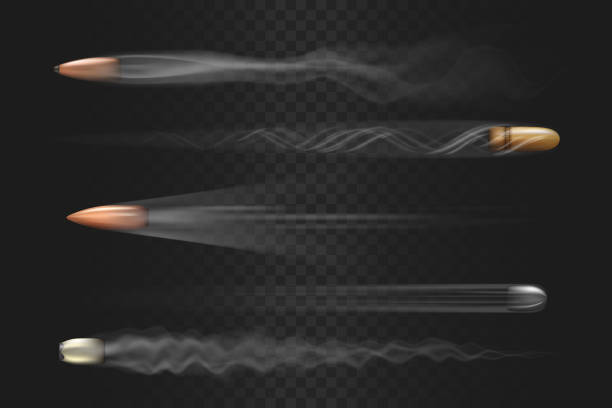 Realistic flying bullets with smoke trace isolated Realistic flying bullet with smoke trace isolated on transparent background, a set of fired bullets in motion, various firearm projectiles vector illustrations pistol stock illustrations