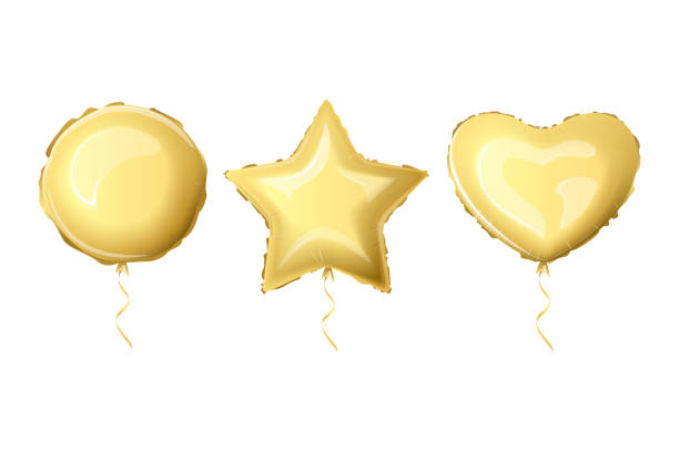Realistic foil balloons Realistic foil balloons golden color. Set helium foil balloons of different shapes. Metallic air balloons in the form of a heart, a circle, a star. Vector illustration. hot air balloon stock illustrations