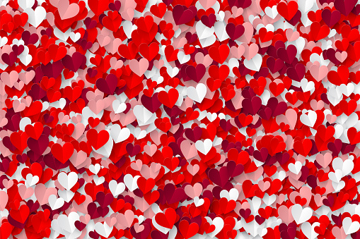 Realistic folded paper hearts mosaic background