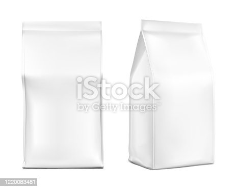 Realistic food bags isolated on white background. Front, isometric view.