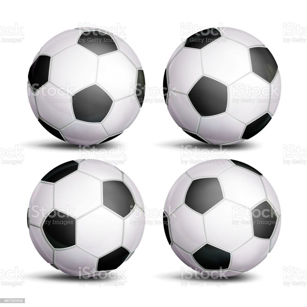 Realistic Football Ball Set Vector Classic Round Soccer Ball