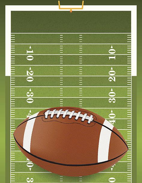 ilustrações de stock, clip art, desenhos animados e ícones de realista de futebol no campo texturizado - primeiro down futebol americano