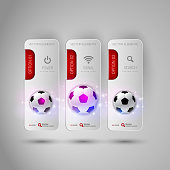 Vector ball of soccer. Realistic football on the gray banners as design elements. Fottballs theme.