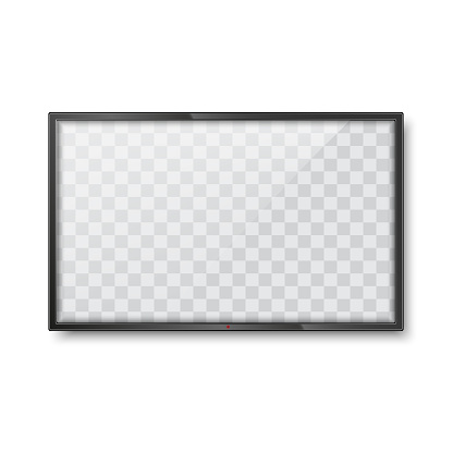 Realistic frame of TV screen mockup. LCD panel. Vector