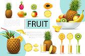 Realistic fresh fruits composition with pineapple mango papaya dragonfruit kiwi glass of natural tasty juices vector illustration