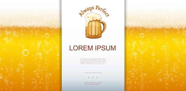 Realistische frische Lager Bier Closeup Hintergrund – Vektorgrafik