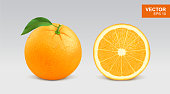 Realistic fresh orange vector illustration, icon. Whole and half slice of orange citrus fruit with green leaf and water drop