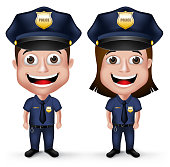 3D Realistic Friendly Police Characters Policeman and Policewoman in Uniform for Security Isolated in White Background. Vector Illustration