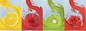 Realistic fruit juice, kiwi, raspberry, pomegranate, lemon. Fresh fruits. Fruit splashes close up. 3d vector illustration.
