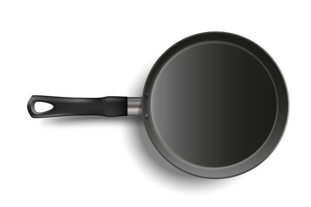 realistische bratpfanne isoliert auf transparentem hintergrund. metallische geschirr. utensil zum kochen. stock realistische vektor-illustration. - winkelküche stock-grafiken, -clipart, -cartoons und -symbole