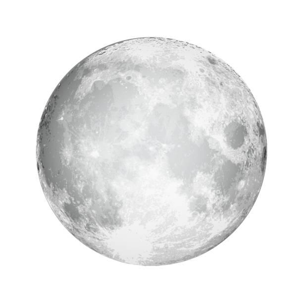 illustrazioni stock, clip art, cartoni animati e icone di tendenza di luna piena realistica. astrologia o astronomia del pianeta. vettore. - luna piena