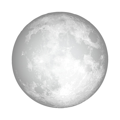 Realistic full moon. Astrology or astronomy planet design. Vector.