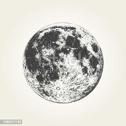 Detailed monochrome Moon illustration in vector