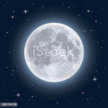 Detailed vector illustration of night sky