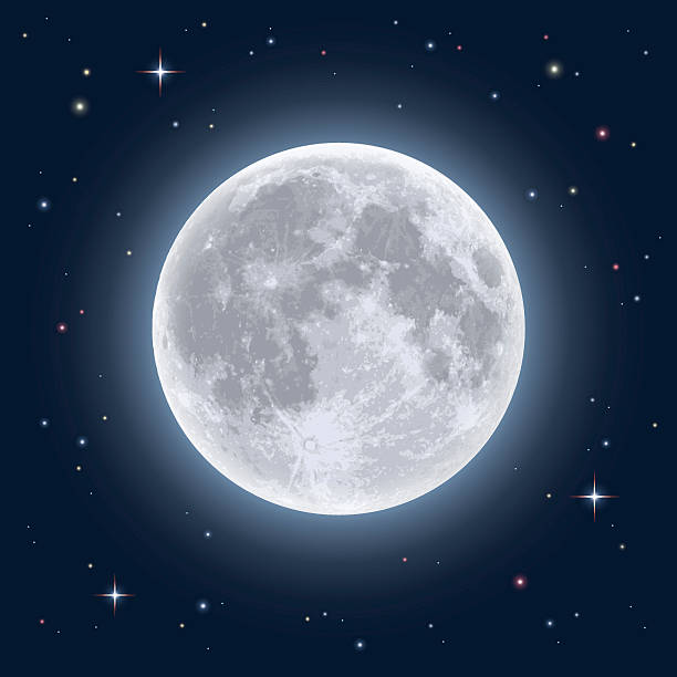 Realistic full moon vector art illustration