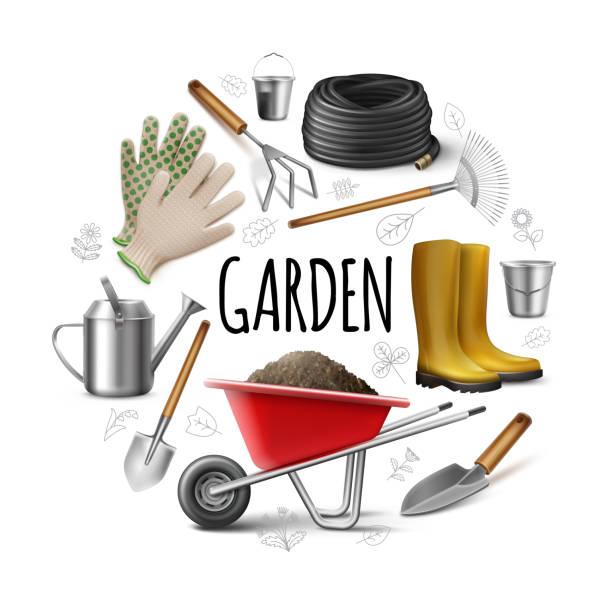 Realistisches Gartenrundkonzept – Vektorgrafik
