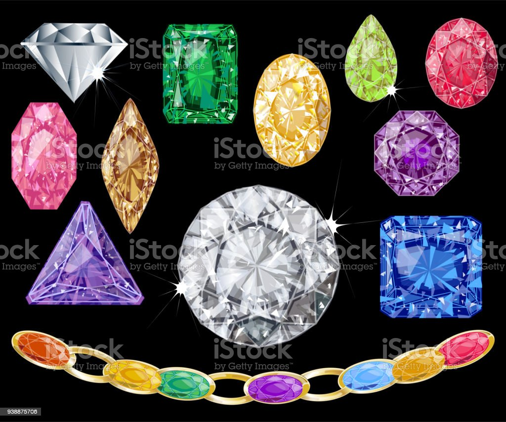 Realistic Gems Vector Illustration Collection
