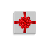 istock Realistic gift box with red bow. Top view. Vector illustration. 867635460