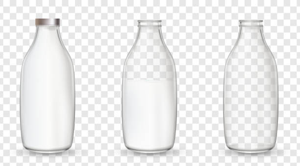 Realistic glass bottles with a milk. vector art illustration
