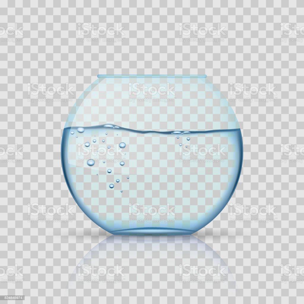 현실적일 유리컵 어항, 수족관, 물을 투명한 백그라운드 벡터 아트 일러스트