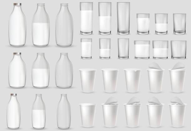 Realistic glass glasses, bottle, plastic cups, packages. vector art illustration