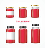 Realistic Glass Jar with Jam, Confiture or Marmalade Template Set Isolated on White Background. Vector illustration