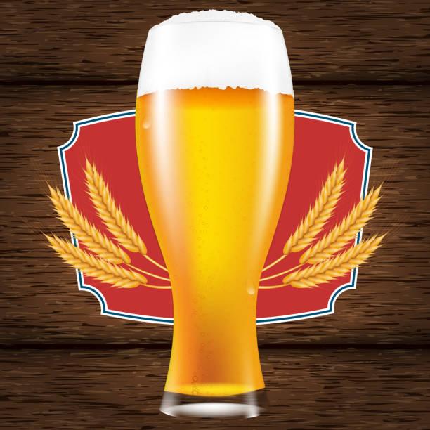 Realistische Glas Bier mit einem flauschigen Schaum. Ein Tisch aus Holzbrettern. Vektor-Illustration für ein Plakat oder Werbung. – Vektorgrafik