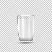 Realistic glass of milk. Healthy eating, protein rich dairy product. Tasty breakfast. Transparent glass with glares and highlights. Vector illustration with transparencies, gradient and effects.