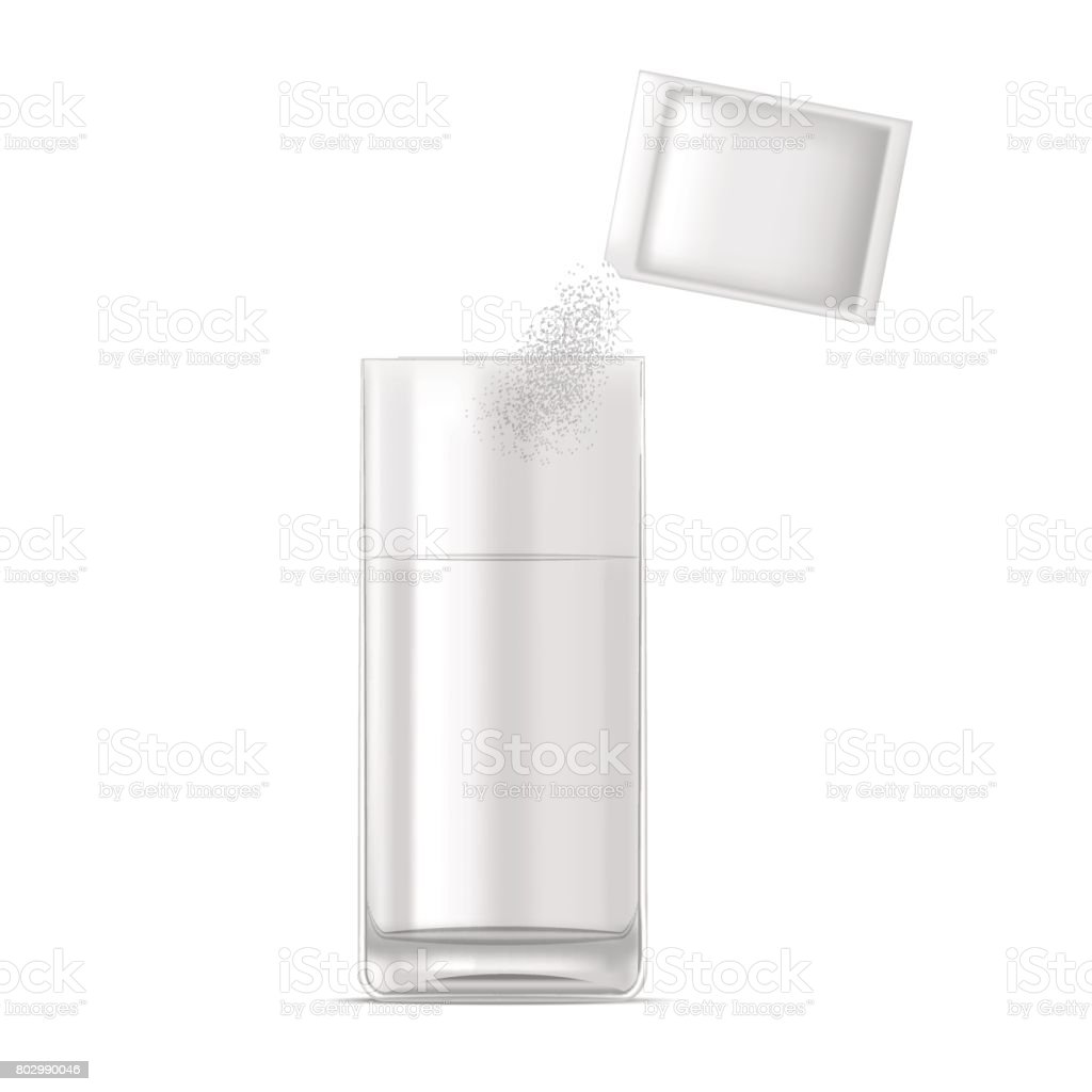 Realistic Glass of Water and Medicine Dose of Powder. Vector vector art illustration